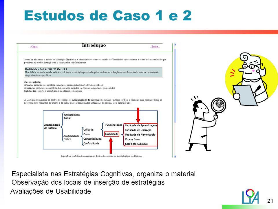 Estudos de Caso 1 e 2 Especialista nas Estratégias Cognitivas, organiza o material. Observação dos locais de inserção de estratégias.