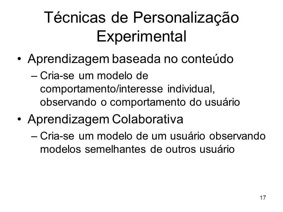 Técnicas de Personalização Experimental