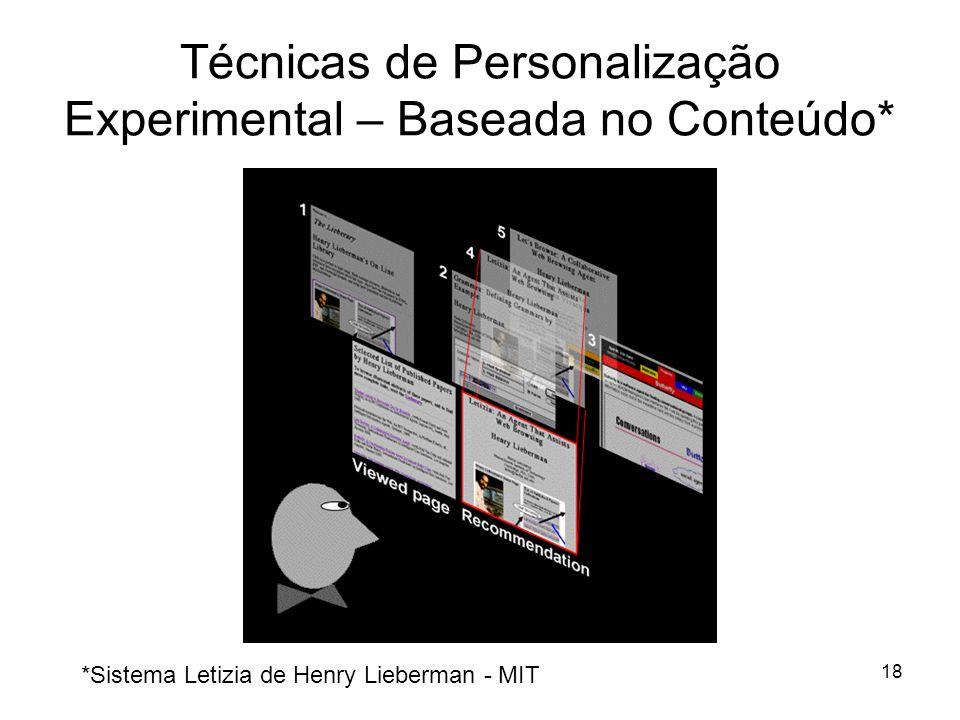 Técnicas de Personalização Experimental – Baseada no Conteúdo*