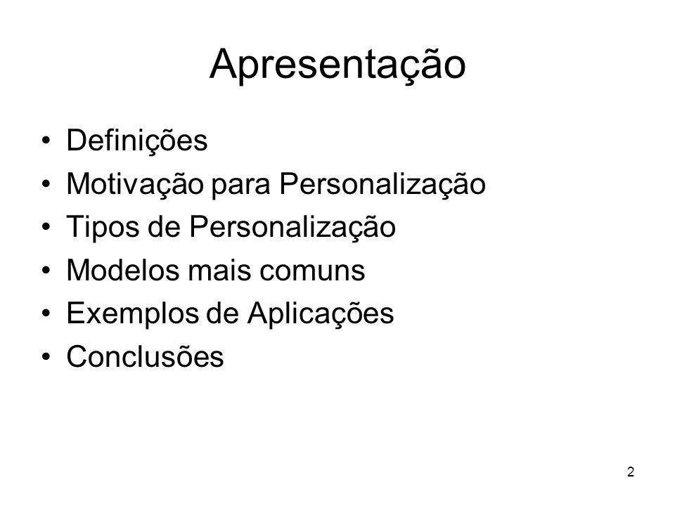 Apresentação Definições Motivação para Personalização