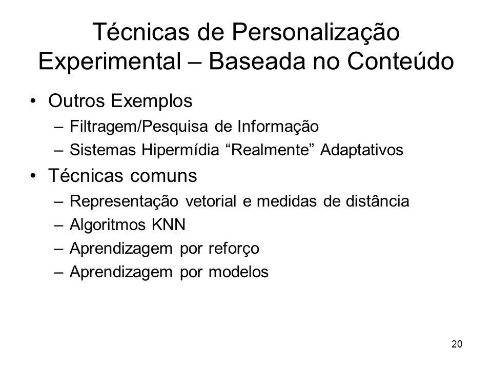 Técnicas de Personalização Experimental – Baseada no Conteúdo