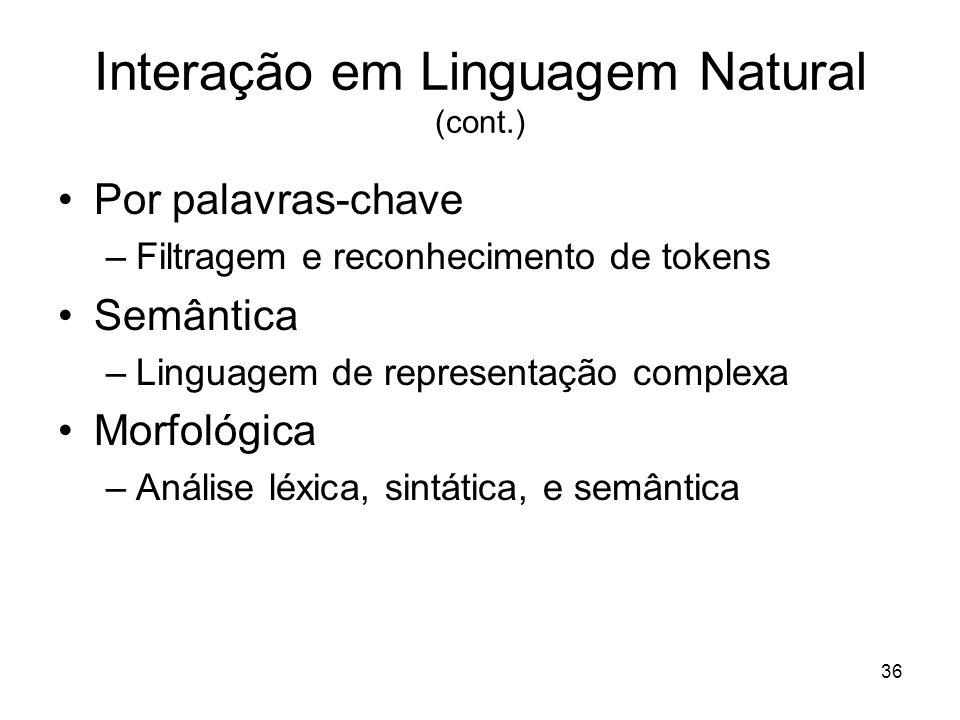 Interação em Linguagem Natural (cont.)
