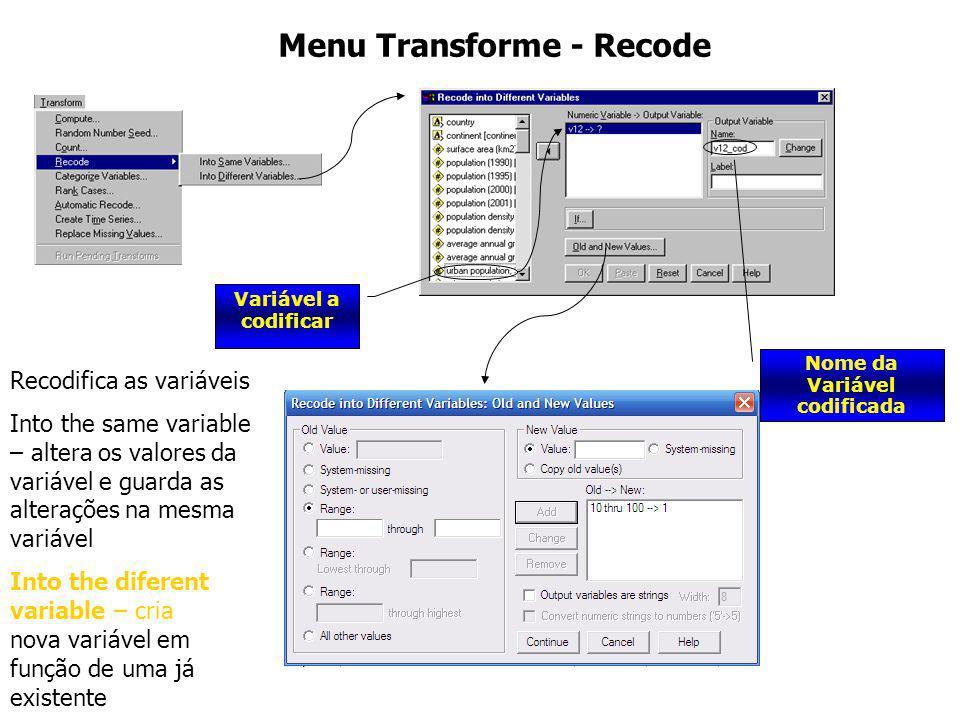 Menu Transforme - Recode Nome da Variável codificada