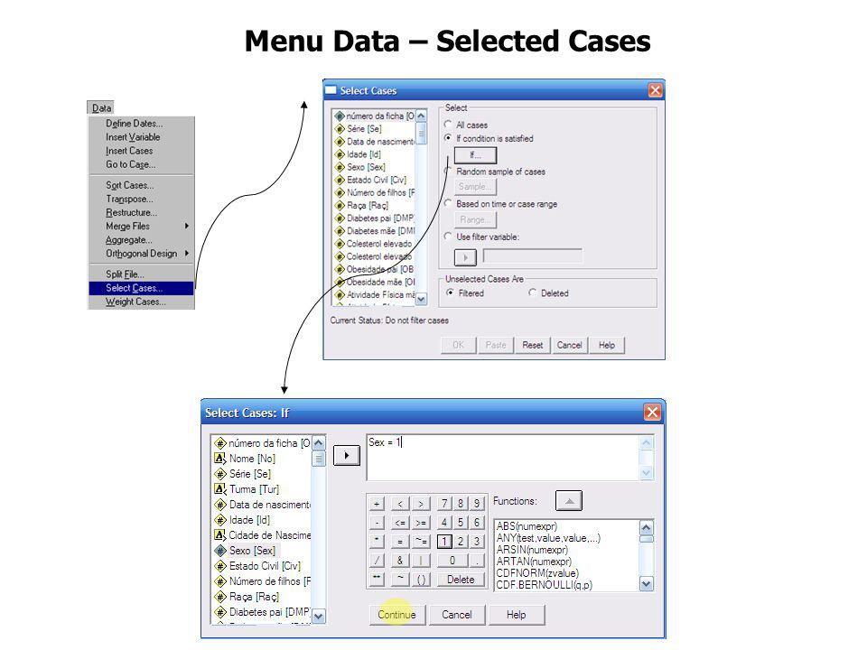 Menu Data – Selected Cases