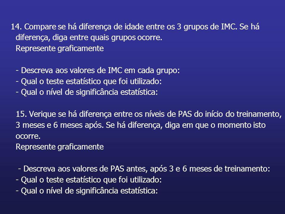 14. Compare se há diferença de idade entre os 3 grupos de IMC