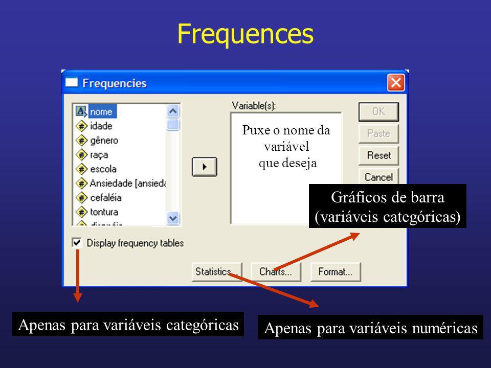 Frequences Gráficos de barra (variáveis categóricas)