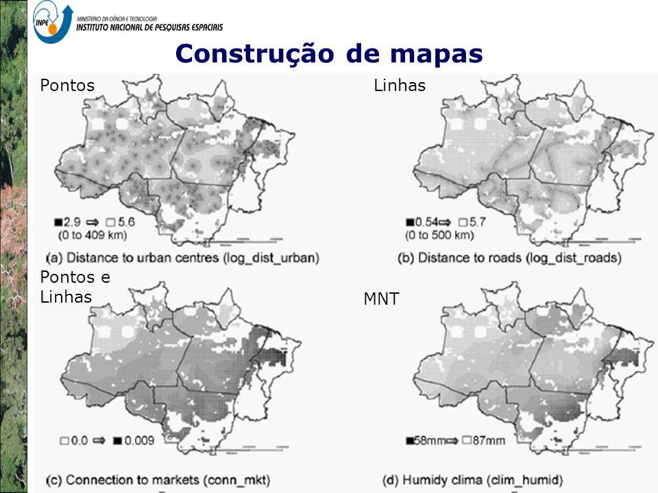 Construção de mapas Pontos Linhas Pontos e Linhas MNT