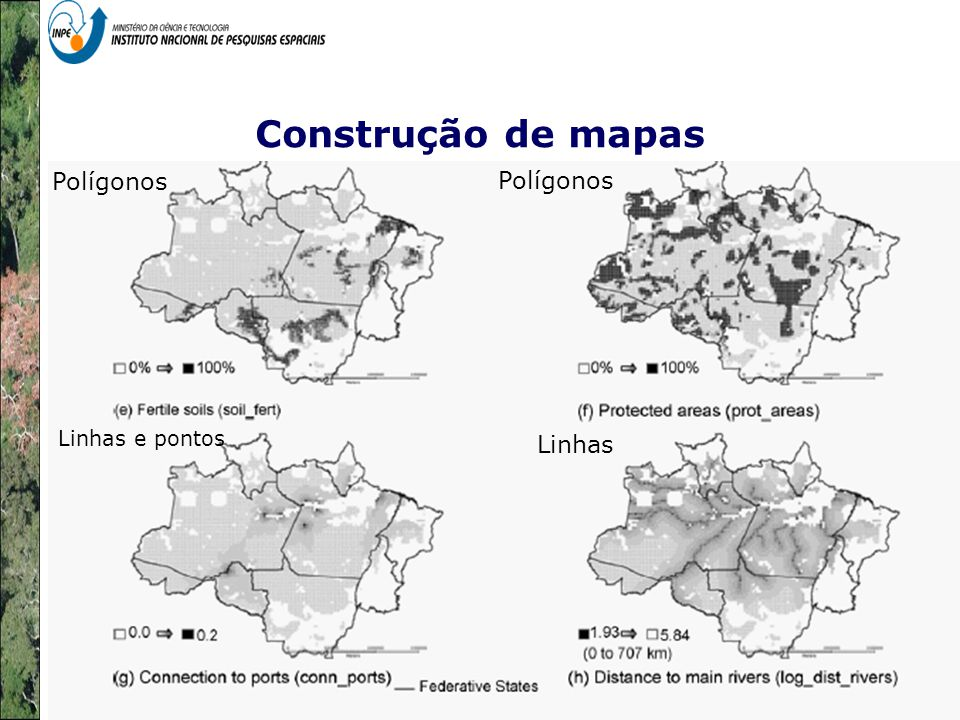 Construção de mapas Polígonos Polígonos Linhas Linhas e pontos