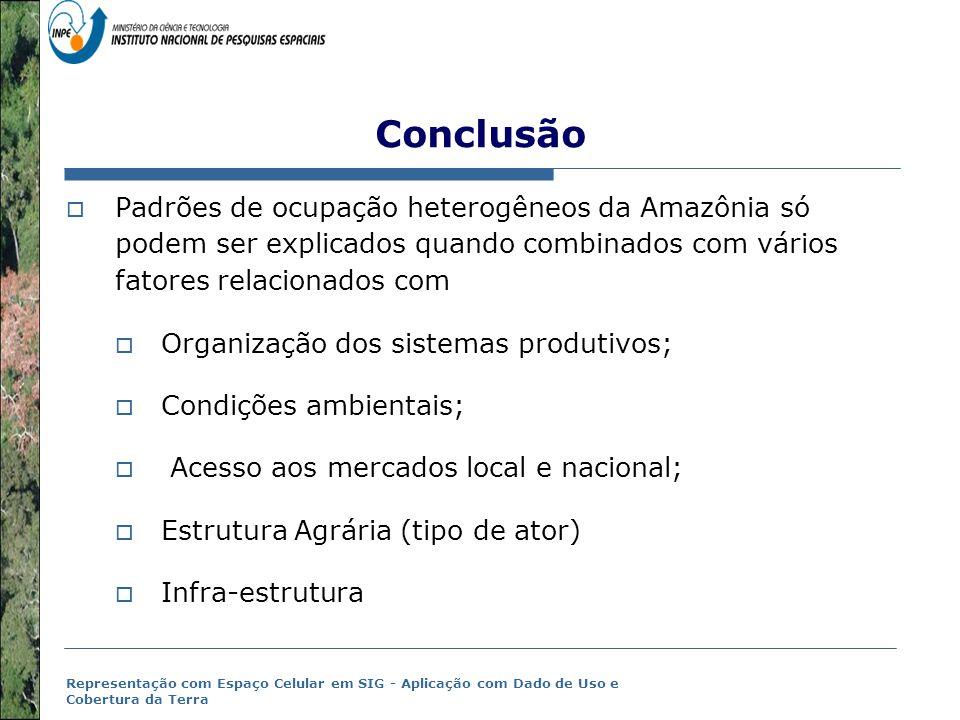 Conclusão Padrões de ocupação heterogêneos da Amazônia só podem ser explicados quando combinados com vários fatores relacionados com.