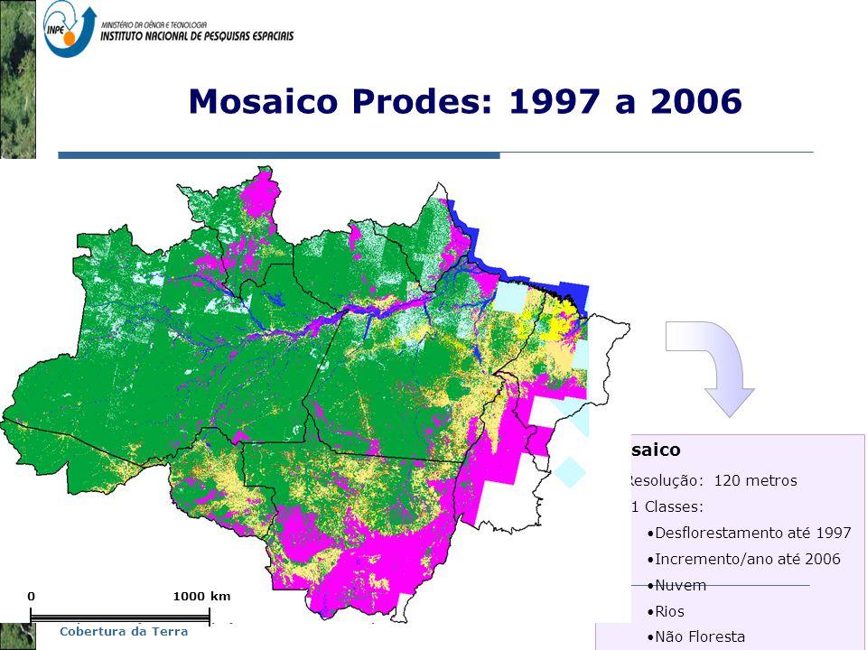 Mosaico Prodes: 1997 a 2006 Mosaico Resolução: 120 metros 41 Classes: