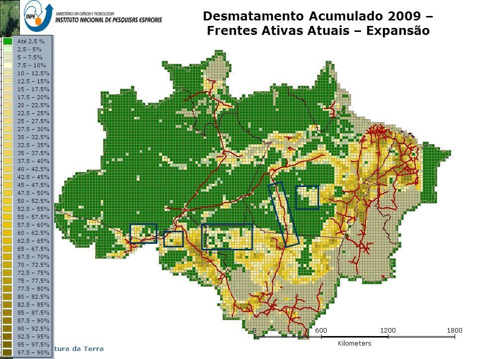 Desmatamento Acumulado 2009 – Frentes Ativas Atuais – Expansão