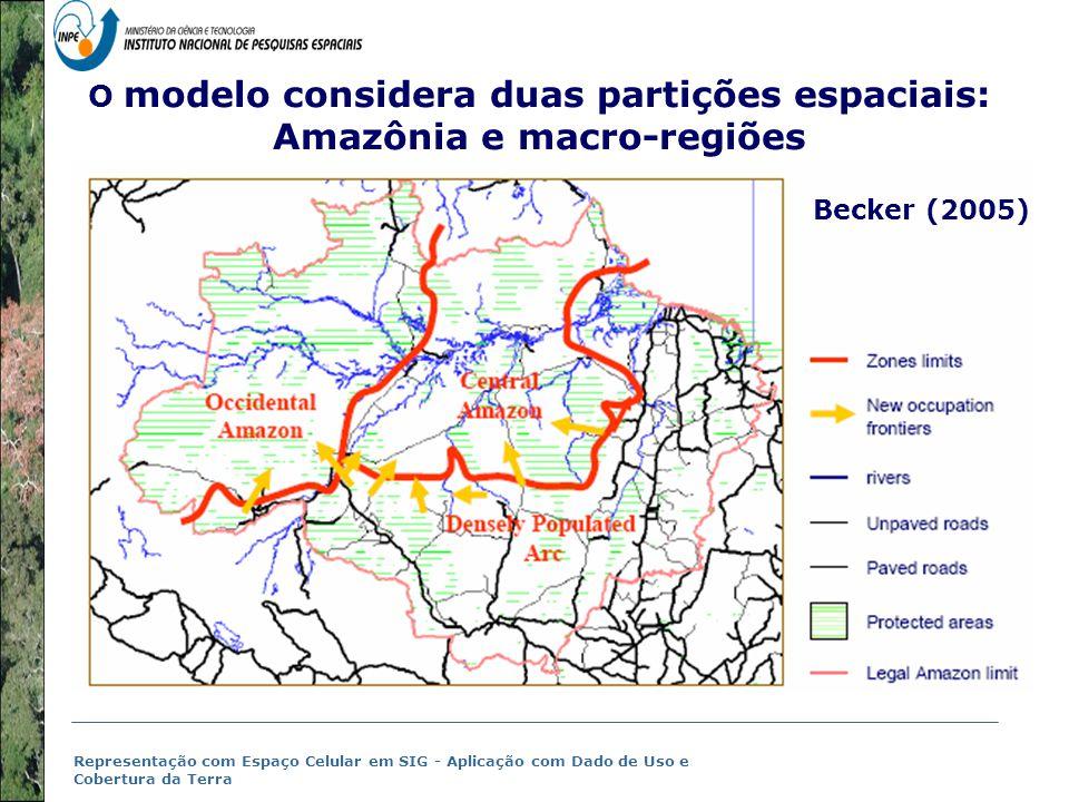 O modelo considera duas partições espaciais: Amazônia e macro-regiões
