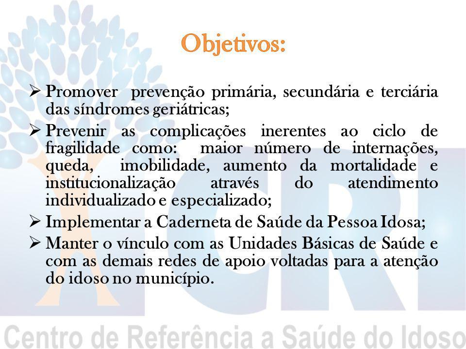 Objetivos: Promover prevenção primária, secundária e terciária das síndromes geriátricas;