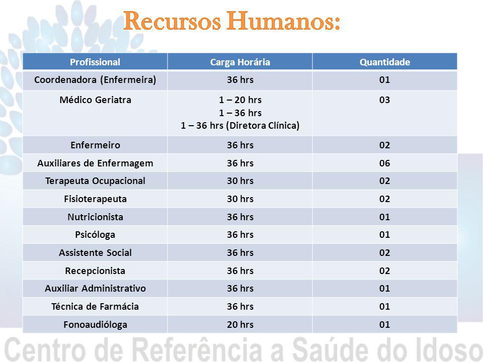Recursos Humanos: Profissional Carga Horária Quantidade