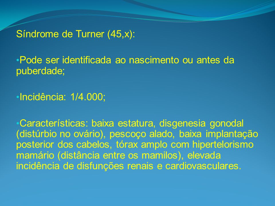 Síndrome de Turner (45,x):