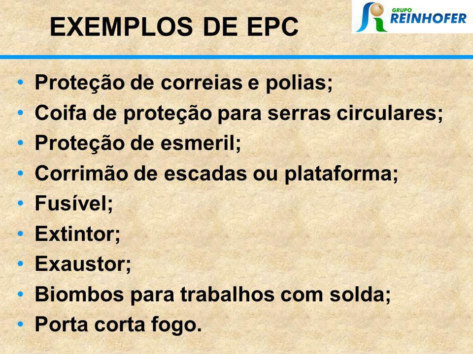 EXEMPLOS DE EPC Proteção de correias e polias;