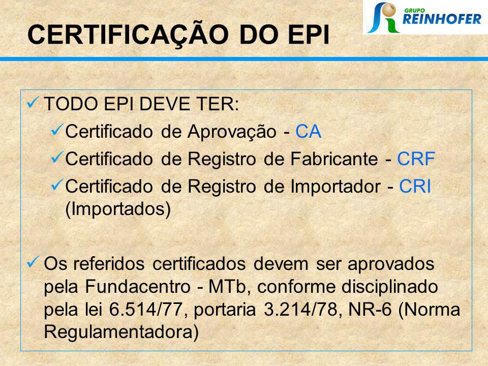 CERTIFICAÇÃO DO EPI TODO EPI DEVE TER: Certificado de Aprovação - CA