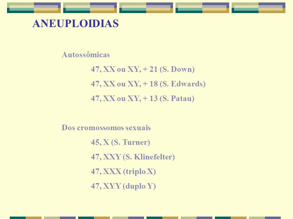 ANEUPLOIDIAS Autossômicas. 47, XX ou XY, + 21 (S. Down) 47, XX ou XY, + 18 (S. Edwards)