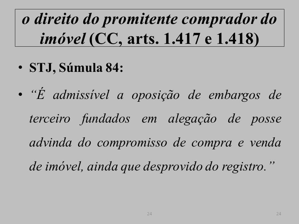 o direito do promitente comprador do imóvel (CC, arts. 1.417 e 1.418)