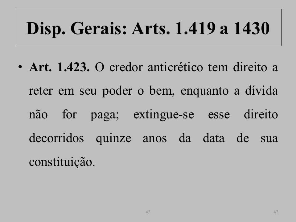 Disp. Gerais: Arts. 1.419 a 1430