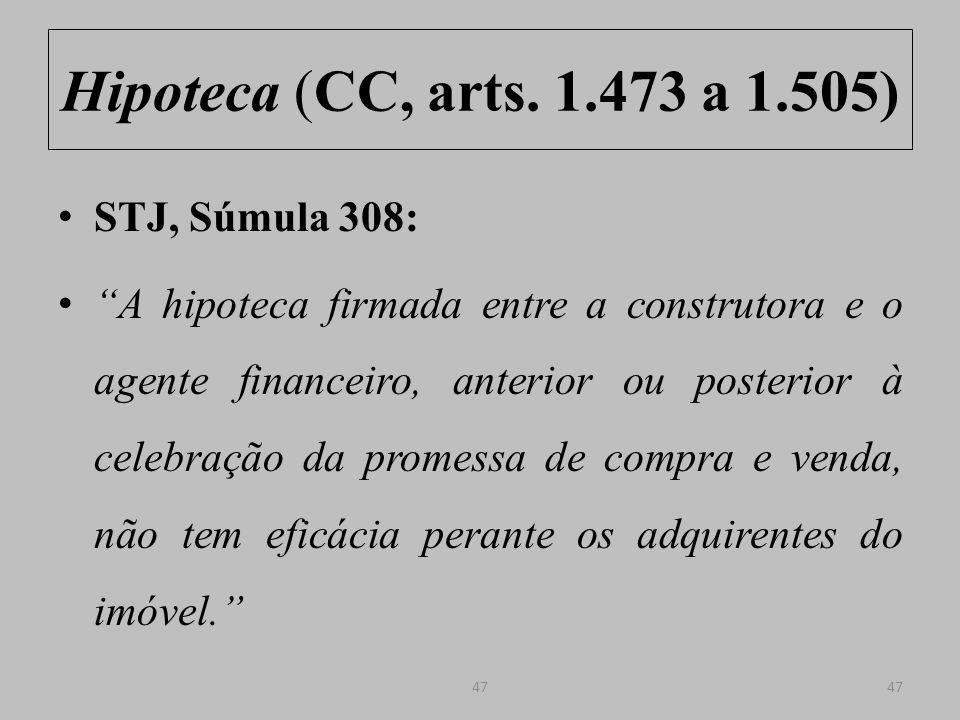 Hipoteca (CC, arts. 1.473 a 1.505) STJ, Súmula 308: