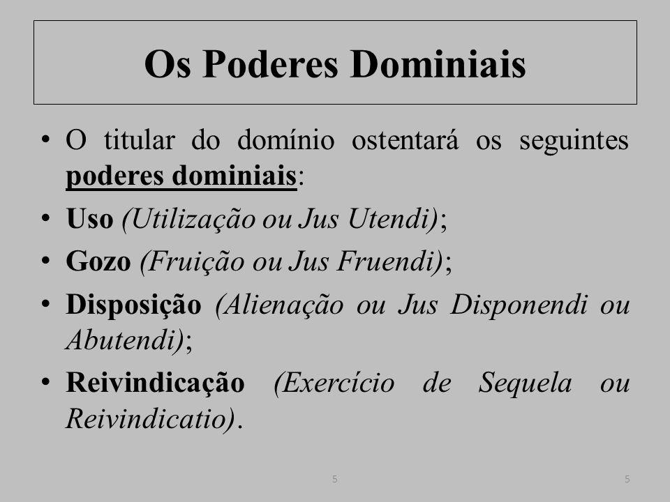 Os Poderes Dominiais O titular do domínio ostentará os seguintes poderes dominiais: Uso (Utilização ou Jus Utendi);