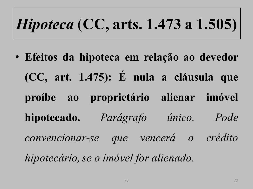 Hipoteca (CC, arts. 1.473 a 1.505)
