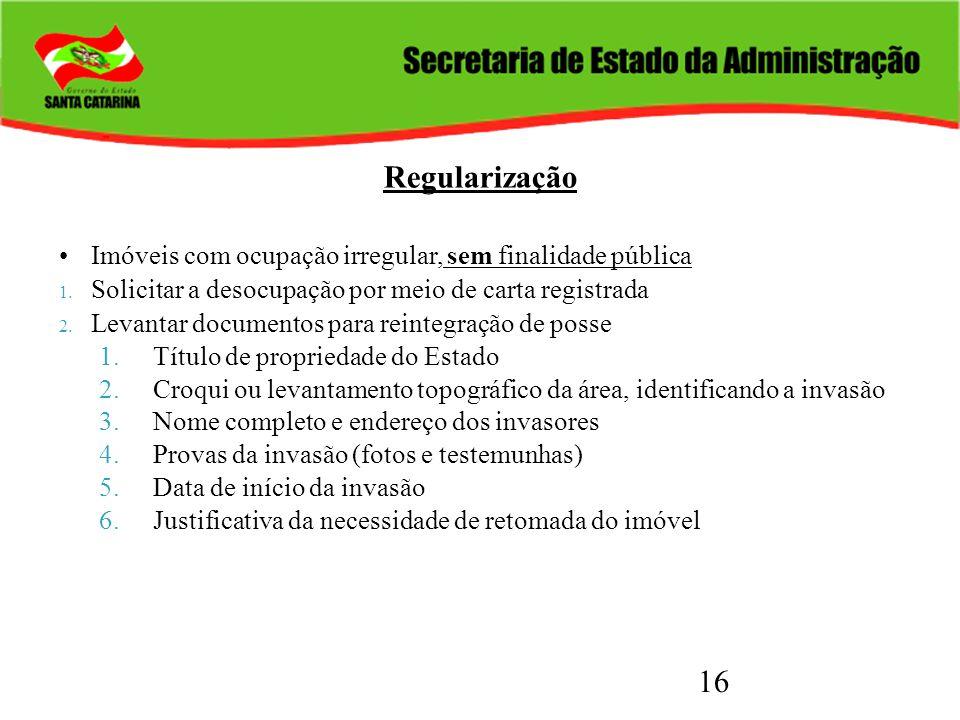Regularização Imóveis com ocupação irregular, sem finalidade pública