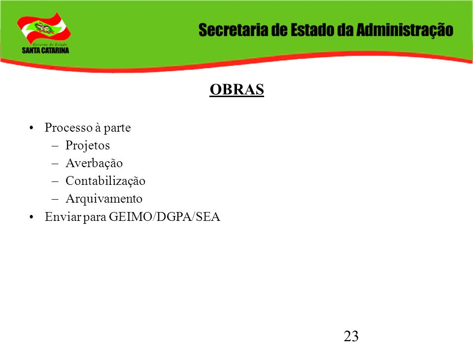 OBRAS Processo à parte Projetos Averbação Contabilização Arquivamento