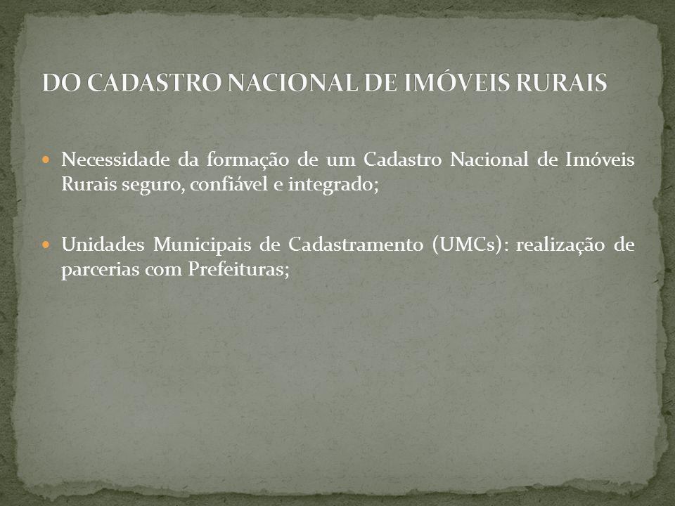 DO CADASTRO NACIONAL DE IMÓVEIS RURAIS