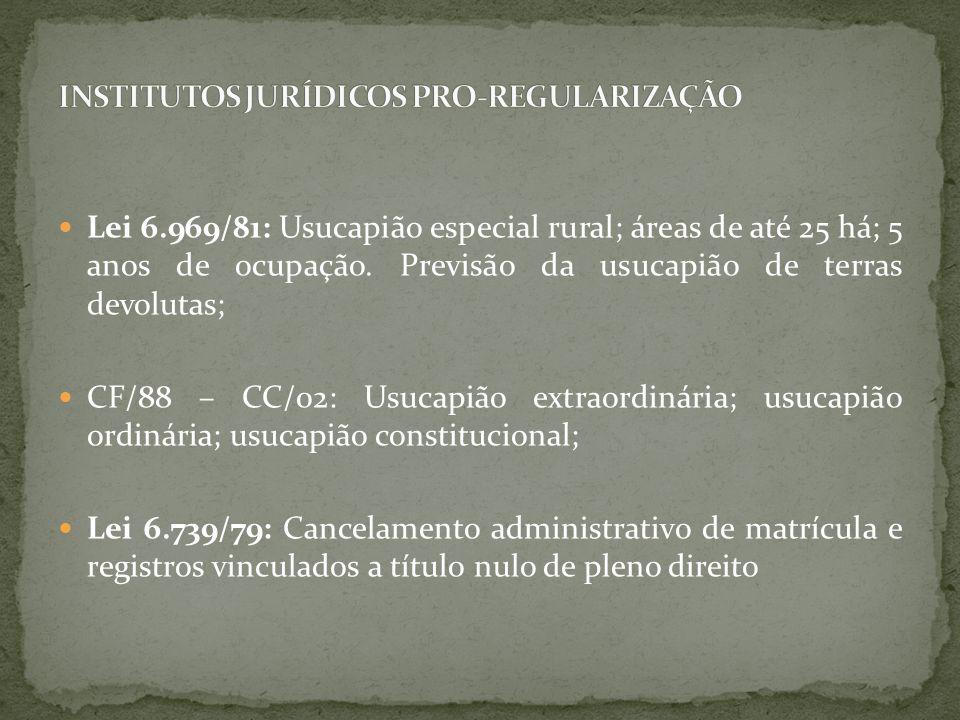 INSTITUTOS JURÍDICOS PRO-REGULARIZAÇÃO