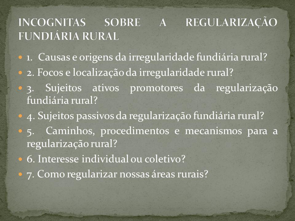 INCOGNITAS SOBRE A REGULARIZAÇÃO FUNDIÁRIA RURAL