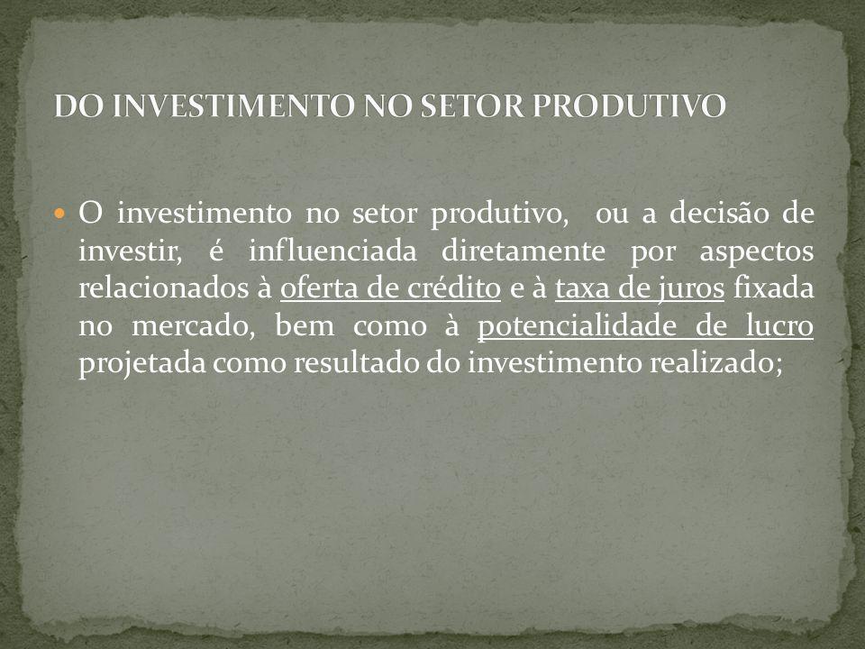 DO INVESTIMENTO NO SETOR PRODUTIVO