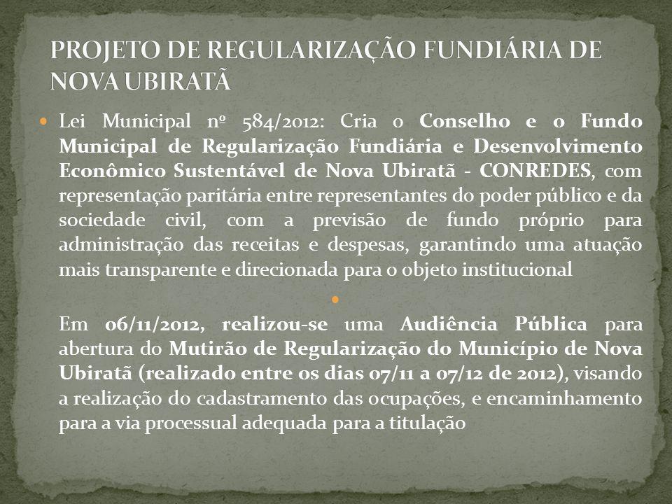 PROJETO DE REGULARIZAÇÃO FUNDIÁRIA DE NOVA UBIRATÃ