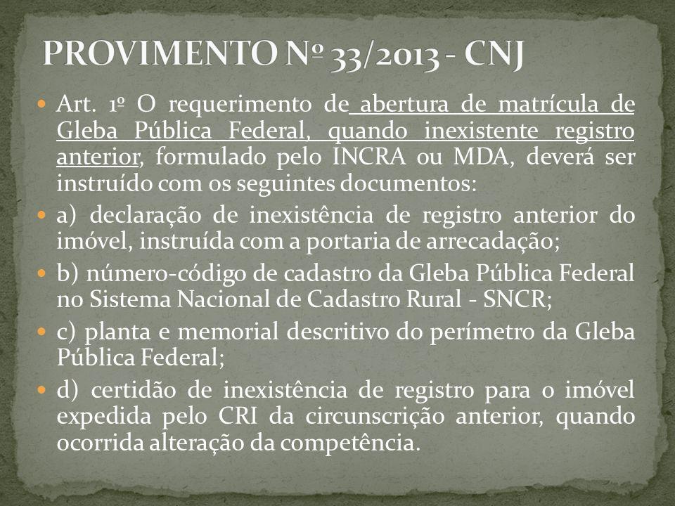 PROVIMENTO Nº 33/2013 - CNJ