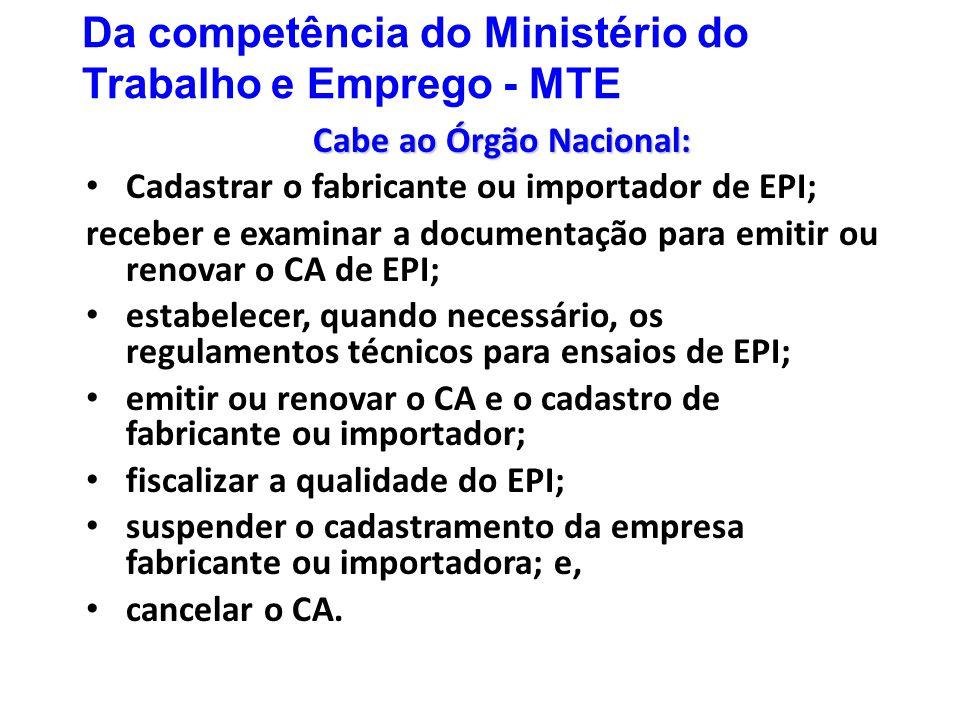 Da competência do Ministério do Trabalho e Emprego - MTE