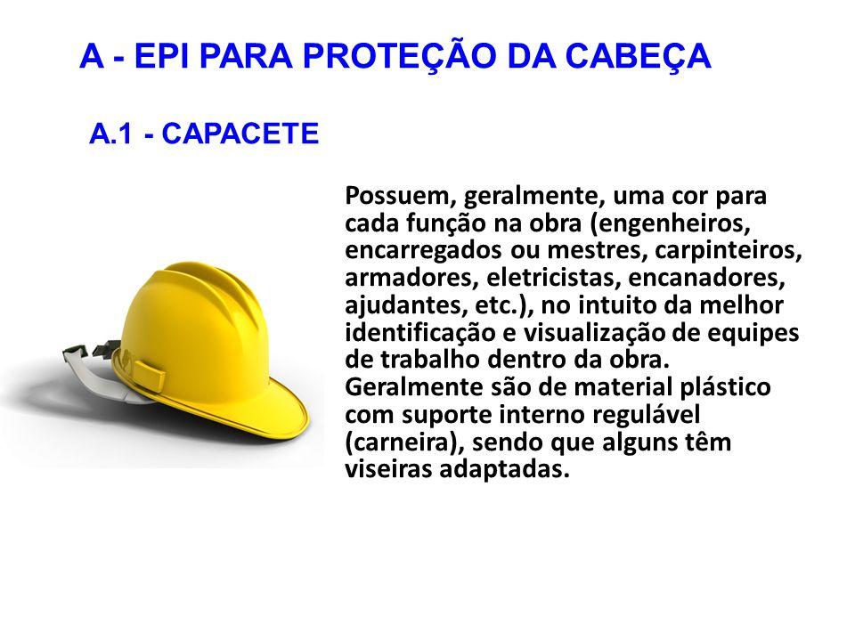 A - EPI PARA PROTEÇÃO DA CABEÇA A.1 - CAPACETE