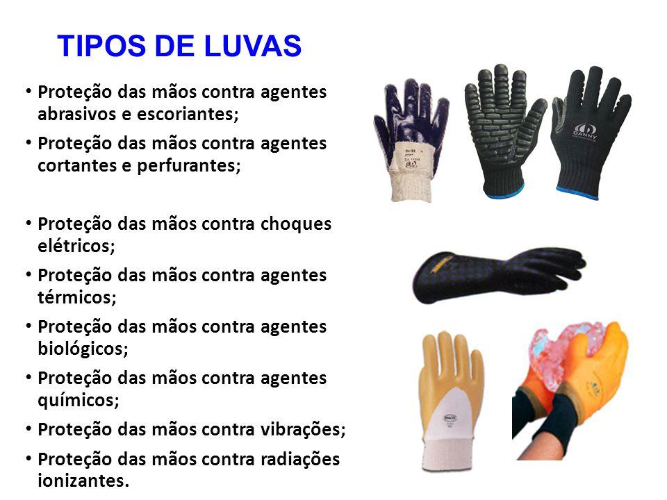 TIPOS DE LUVAS Proteção das mãos contra agentes abrasivos e escoriantes; Proteção das mãos contra agentes cortantes e perfurantes;