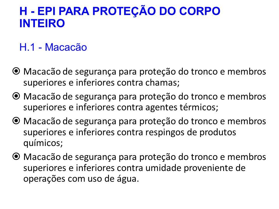 H - EPI PARA PROTEÇÃO DO CORPO INTEIRO H.1 - Macacão