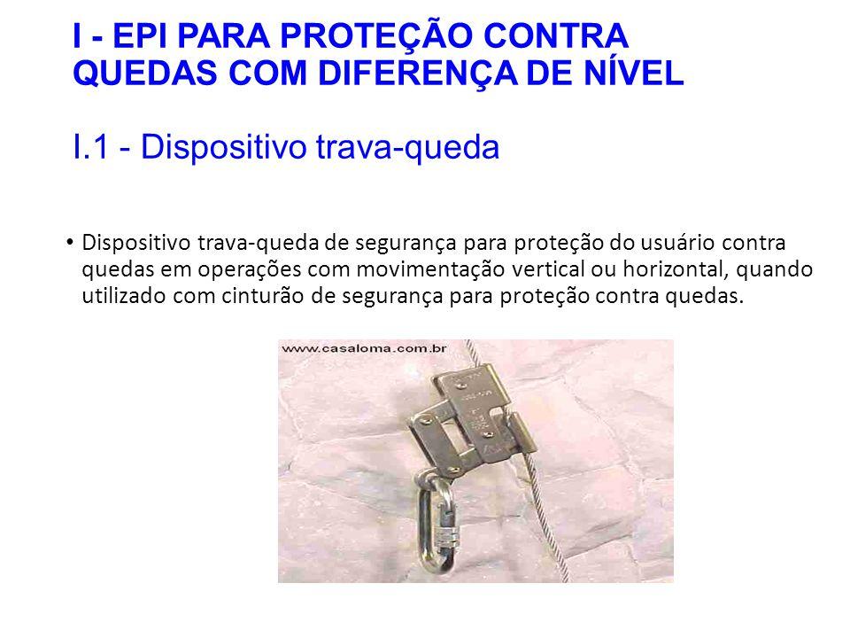 I - EPI PARA PROTEÇÃO CONTRA QUEDAS COM DIFERENÇA DE NÍVEL I