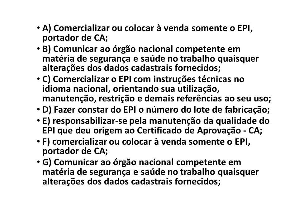 A) Comercializar ou colocar à venda somente o EPI, portador de CA;