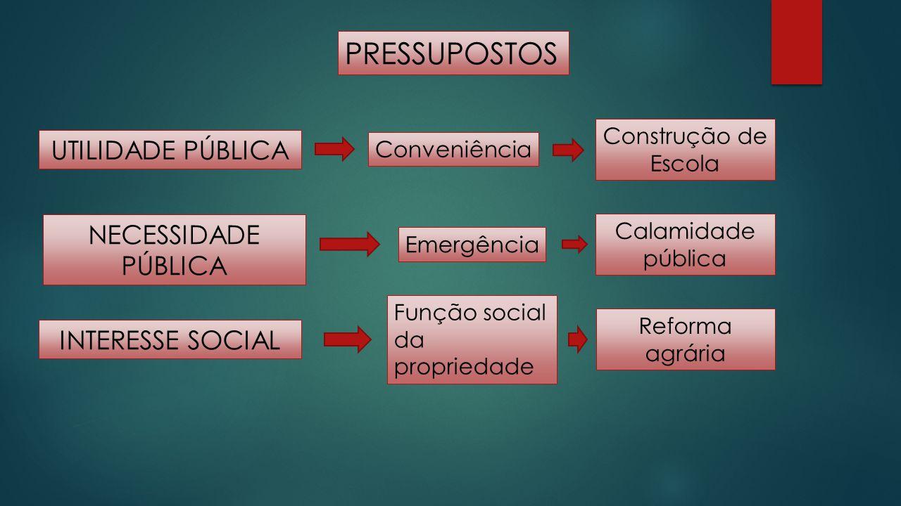 PRESSUPOSTOS UTILIDADE PÚBLICA NECESSIDADE PÚBLICA INTERESSE SOCIAL