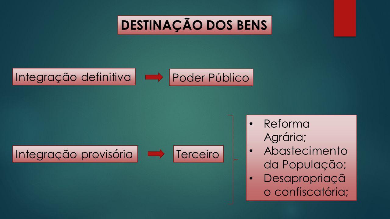 DESTINAÇÃO DOS BENS Integração definitiva Poder Público