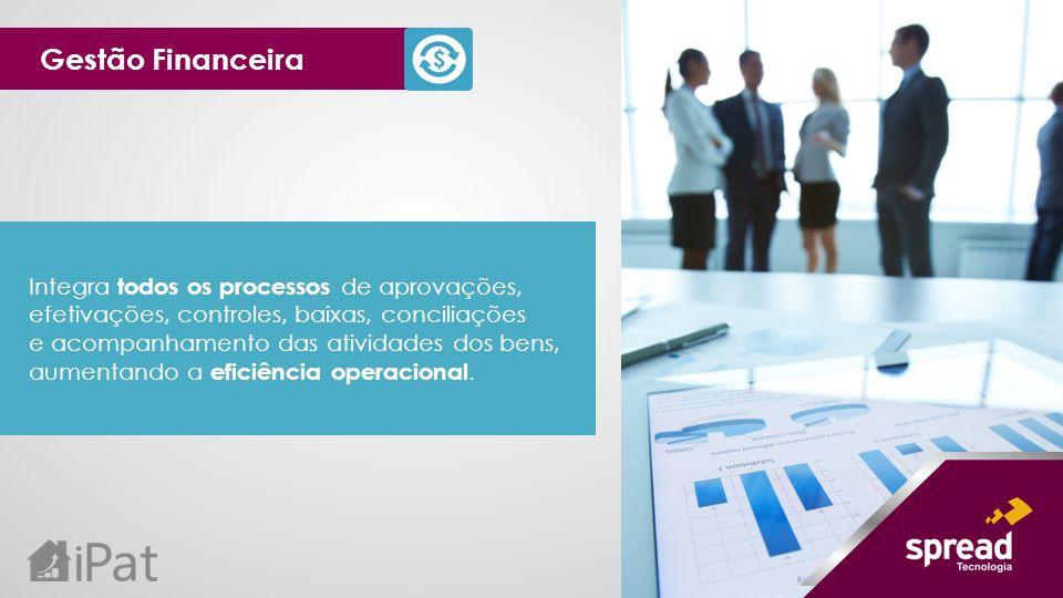 Gestão Financeira Integra todos os processos de aprovações, efetivações, controles, baixas, conciliações.