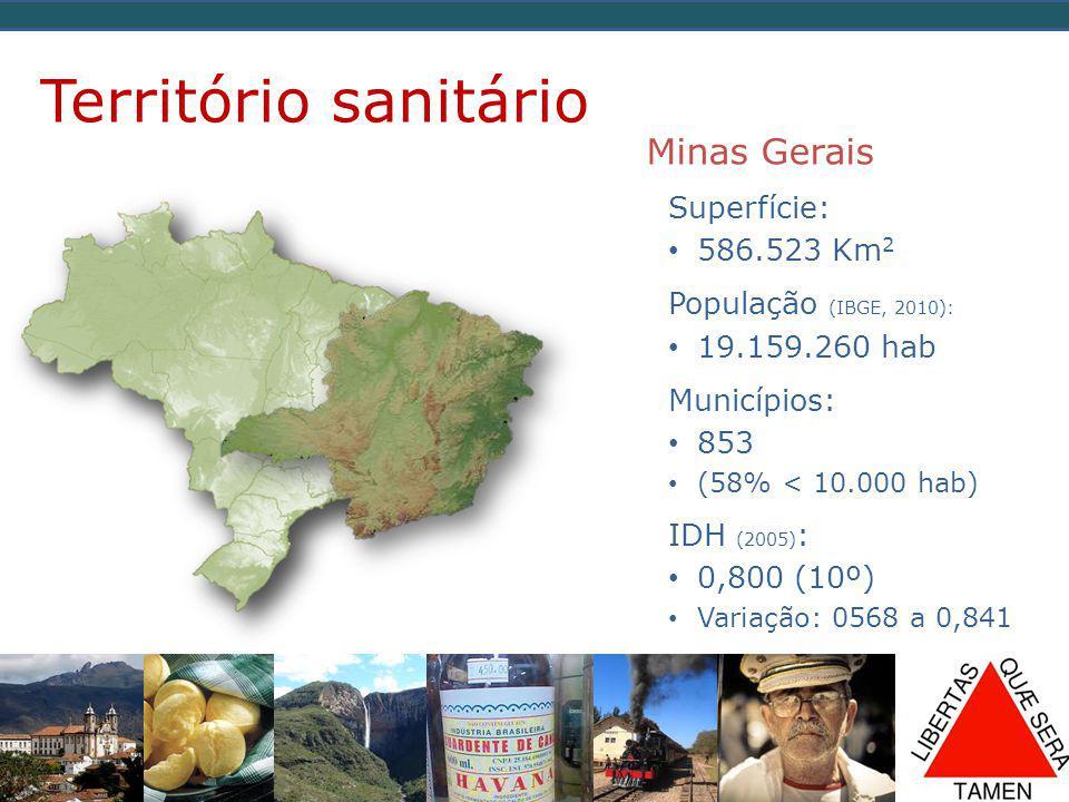 Território sanitário Minas Gerais Superfície: 586.523 Km2
