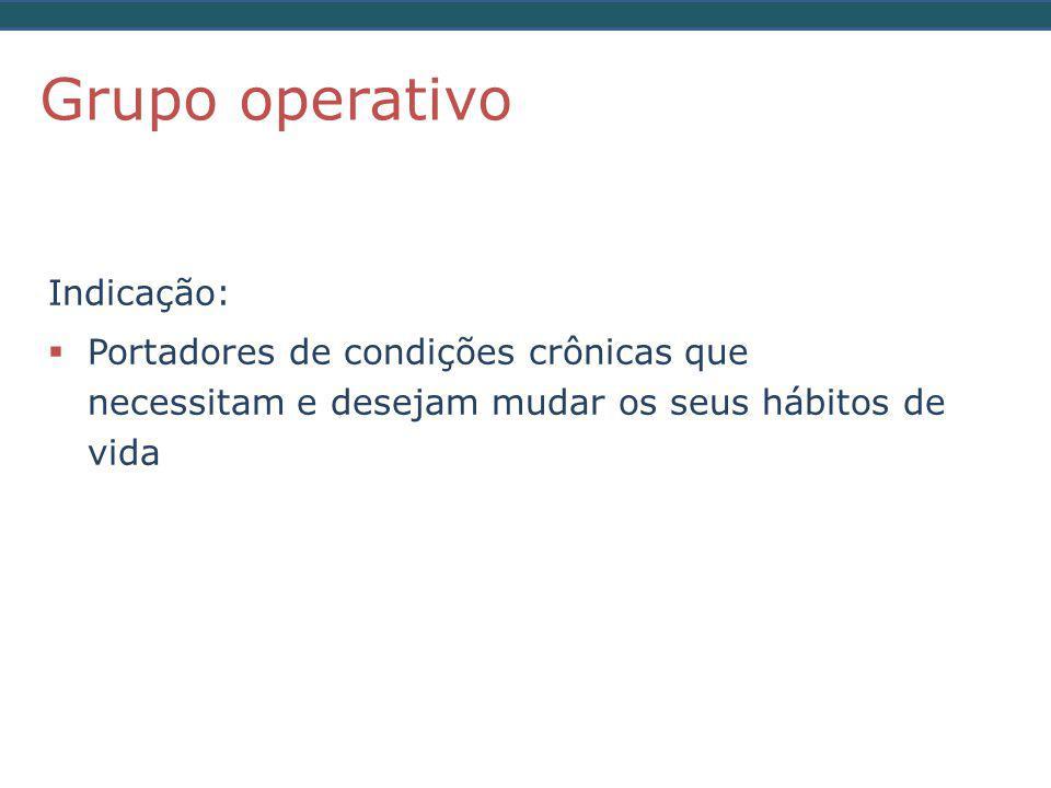 Grupo operativo Indicação: