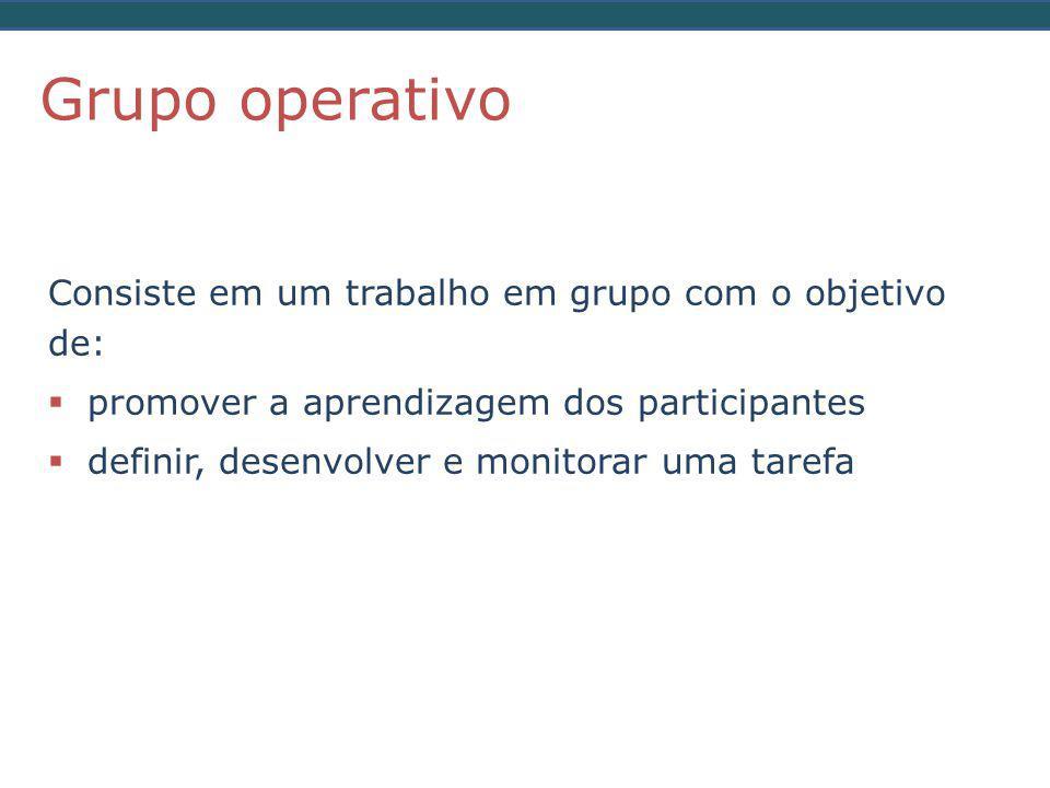 Grupo operativo Consiste em um trabalho em grupo com o objetivo de: