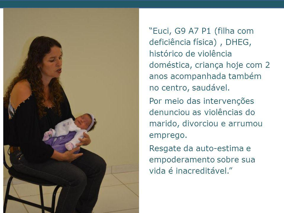 Euci, G9 A7 P1 (filha com deficiência física) , DHEG, histórico de violência doméstica, criança hoje com 2 anos acompanhada também no centro, saudável.