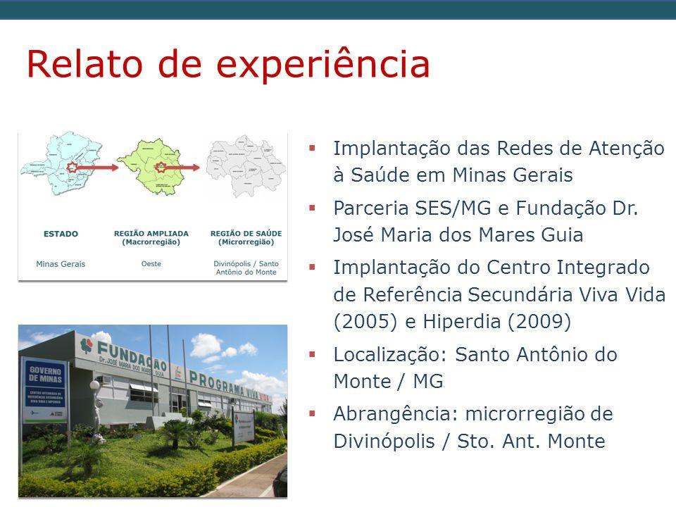 Relato de experiência Implantação das Redes de Atenção à Saúde em Minas Gerais. Parceria SES/MG e Fundação Dr. José Maria dos Mares Guia.