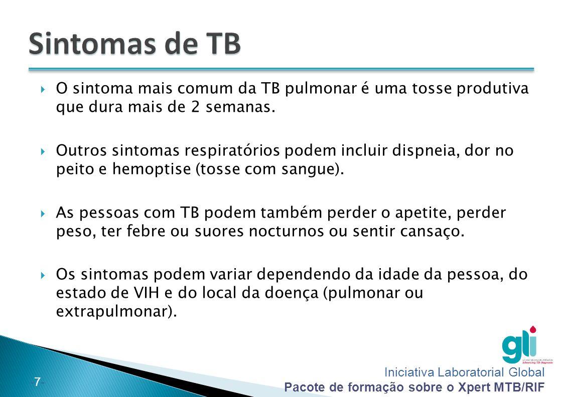 Sintomas de TB O sintoma mais comum da TB pulmonar é uma tosse produtiva que dura mais de 2 semanas.